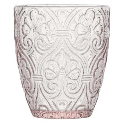6 Bicchieri Corinto rosa decorato 300ml, Fade Maison