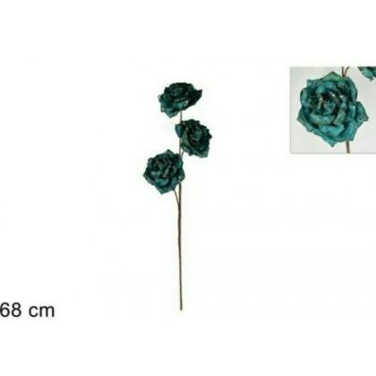 Ramo 3 rose in velluto verde petrolio/ottanio e oro