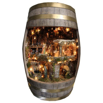 Presepe artigianale completo in Botte di legno rovere...