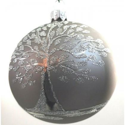 4 Palline di natale in vetro decorate albero della vita...