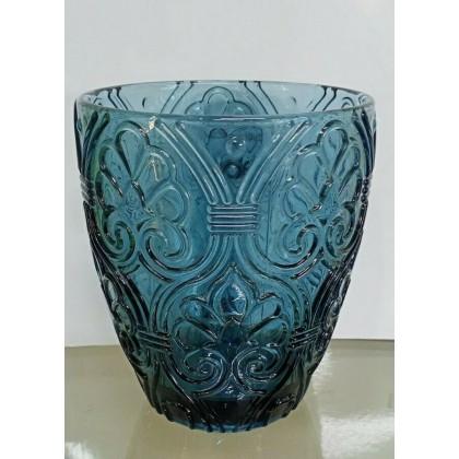 6 Bicchieri Corinto blu decorato 300ml, Fade Maison