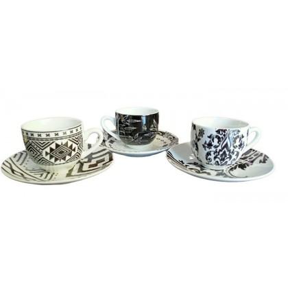6 tazzine caffè con piattino, Black &White Trendy