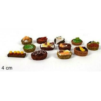 Confezione 12 cestini, panieri in miniatura per Presepe